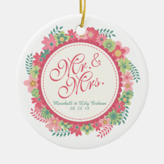 Mr. & Mrs. Elegant Floral Wedding | Ornament
