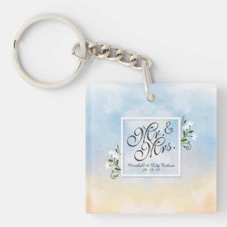 Mr. & Mrs. Elegant Frame Wedding Keychain