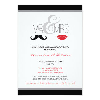 Mr. & Mrs. Engagement Party Invitation (black)