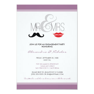 Mr. & Mrs. Engagement Party Invitation (lavender)