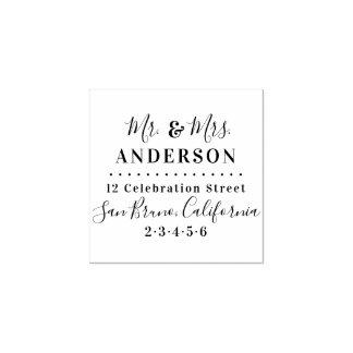 Mr & Mrs Family Name Script Modern Return Address Rubber Stamp