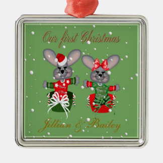 Mr. & Mrs. First Christmas Mouse Ornaments