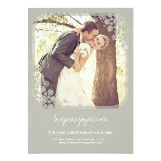 Mr & Mrs First Christmas Wedding Snowflakes Card 11 Cm X 16 Cm Invitation Card