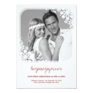 Mr & Mrs First Christmas Wedding Snowflakes Card 13 Cm X 18 Cm Invitation Card
