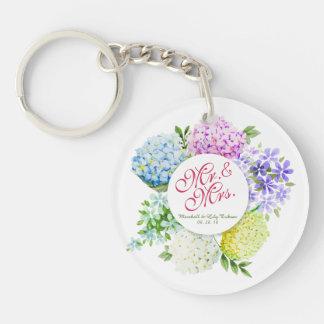 Mr. & Mrs. Floral Spring Wedding Keychain