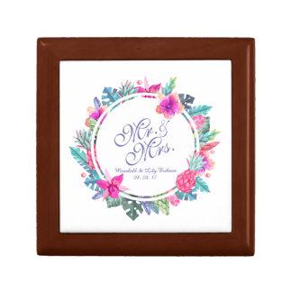 Mr. & Mrs. Floral Tropical Wedding Gift Box