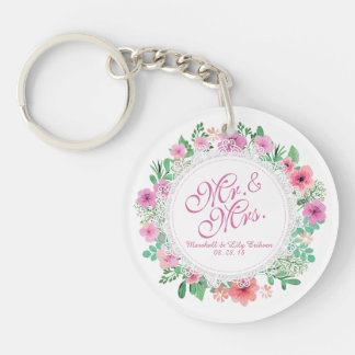 Mr. & Mrs. Floral Watercolor Wedding Keychain
