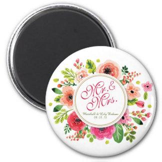 Mr. & Mrs. Floral Watercolor Wedding | Magnet