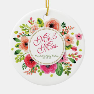 Mr. & Mrs. Floral Watercolor Wedding | Ornament