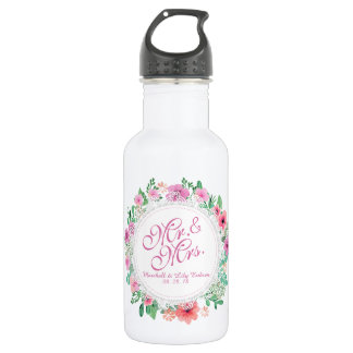 Mr. & Mrs. Floral Watercolor Wedding Water Bottle