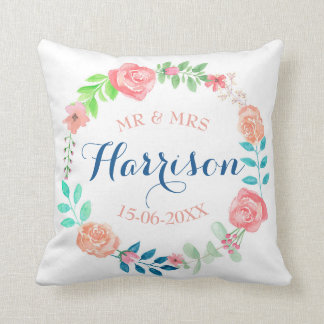 Mr & Mrs Floral Wedding Cushion Watercolour Gift