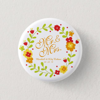 Mr. & Mrs. Floral Wreath Cheerful Pin Button