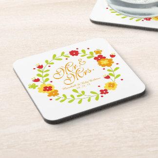 Mr. & Mrs. Floral Wreath Cheerful Wedding Coaster
