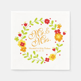 Mr. & Mrs. Floral Wreath Cheerful Wedding Napkin Paper Napkins
