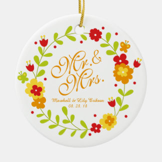 Mr. & Mrs. Floral Wreath Cheerful Wedding Ornament