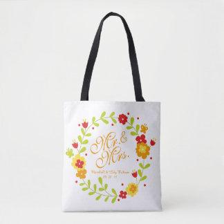 Mr. & Mrs. Floral Wreath Cheerful Wedding Tote Bag
