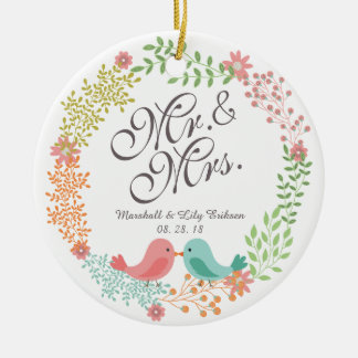Mr. & Mrs. Floral Wreath w/ Birds Wedding Ornament