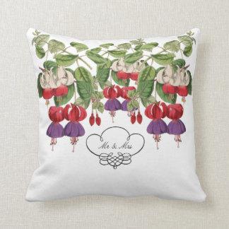 Mr & Mrs Fuschia Flower Throw Pillow