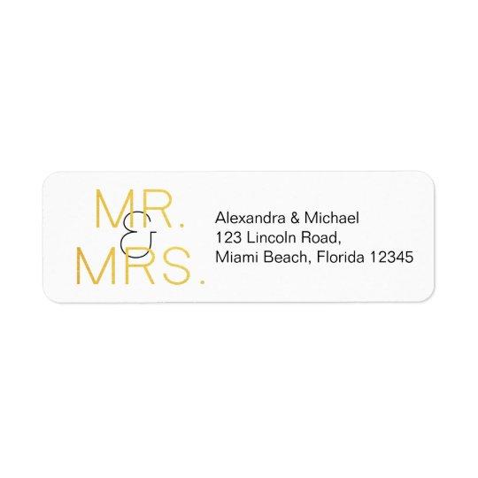 Mr. & Mrs. Gold Elegant Typography Wedding Return Address Label