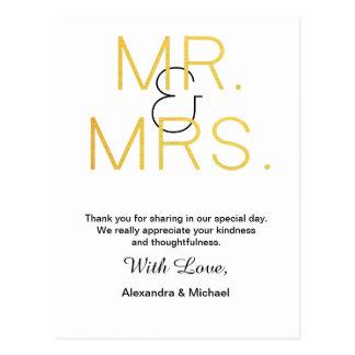Mr.&Mrs. Gold Elegant Typography Wedding Thank You Postcard