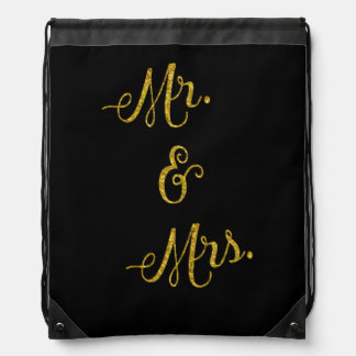 Mr. & Mrs. Gold Faux Glitter Metallic Sequins Drawstring Bag