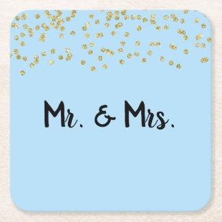 Mr. & Mrs. Gold Glitter Sparkle Square Paper Coaster