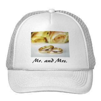 Mr. & Mrs./Gold Wedding Bands Trucker Hats