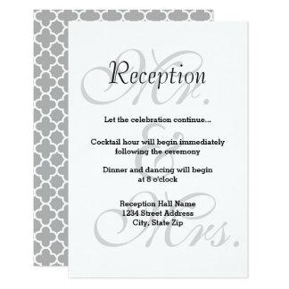 Mr. & Mrs. Gray Quatrefoil - Reception Invitation