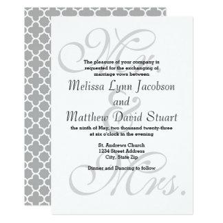 Mr. & Mrs Gray Quatrefoil. - Wedding Invitation
