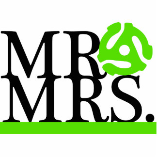 Mr & Mrs Green & Black 45 Adapter Cake Topper Standing Photo Sculpture