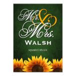 Mr & Mrs Green Sunflower Wedding Invitations
