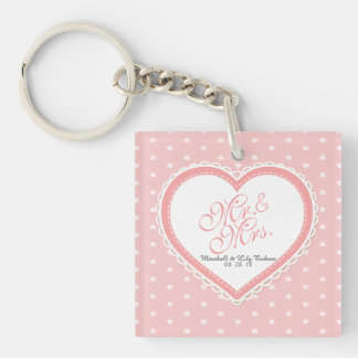Mr. & Mrs. Heart Frame Wedding | Keychain