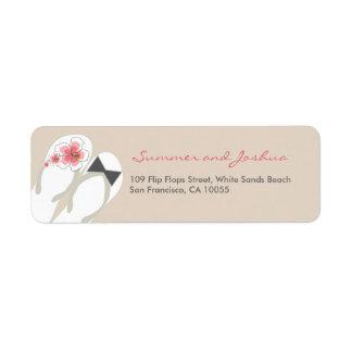 Mr & Mrs Hibiscus Flip Flops Wedding Address Label