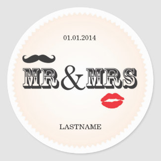Mr & Mrs Lips & Moustache Wedding Favor Stickers