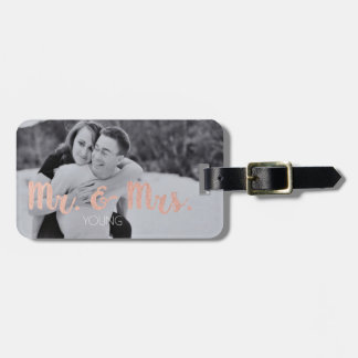 Mr. & Mrs. Luggage Tag with Photo- Rose Gold
