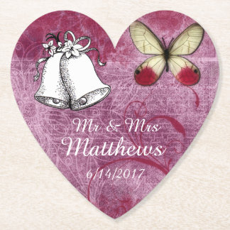 Mr & Mrs Maroon Personalized Wedding Bell Coasters