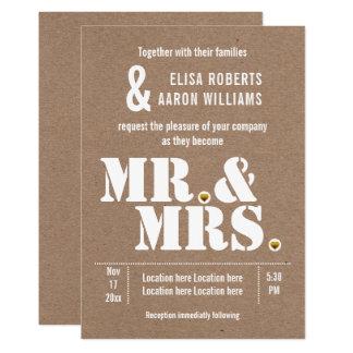 Mr. & Mrs. Modern typography kraft paper wedding Card
