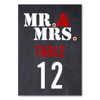 Mr Mrs Modern typography wedding table number Table Cards
