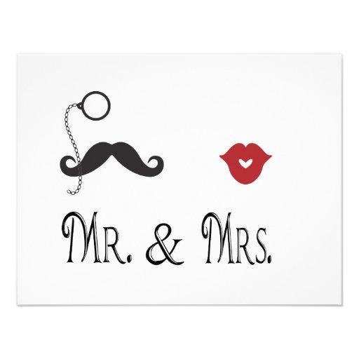 Mr. & Mrs. Moustache & Lips Wedding Invitations 11 Cm X 14 Cm Invitation Card | Zazzle