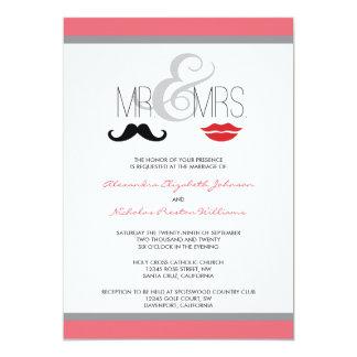 Mr. & Mrs. Moustache & Lipstick Wedding Invitation