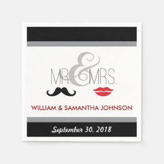 Mr. & Mrs. Mustache and Lipstick Napkins (black) Disposable Napkin