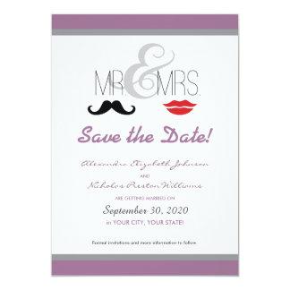 Mr. & Mrs. Mustache & Lipstick Save-the-Date! Card