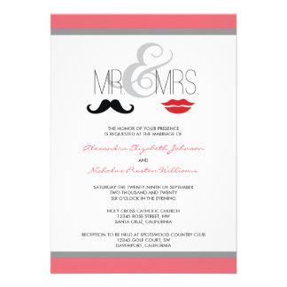 Mr Mrs Mustache Lipstick Wedding Invitation