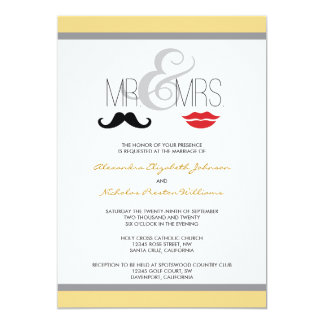 Mr. & Mrs. Mustache & Lipstick Wedding Invitation