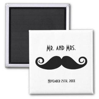 Mr. & Mrs. Mustache Square Magnet