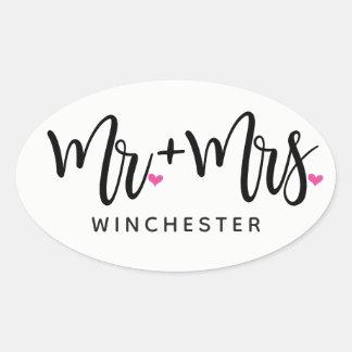 Mr. + Mrs. (name) In Black Script Oval Sticker