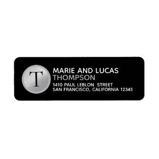 mr mrs names & surname monogram on black return address label