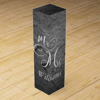 Mr & Mrs newlyweds on black slate Wine Gift Box