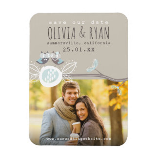 Mr & Mrs Owls Wedding Save The Date Photo Magnet