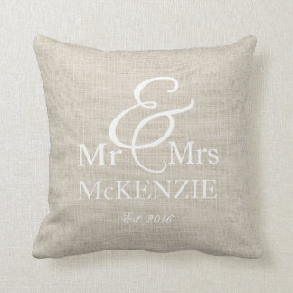 """Mr & Mrs"" personalised with faux burlap backgroun Cushion"